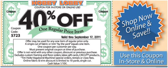Hobby Lobby is a crafters paradise, selling art, home decor, paint, scrapbooks, cloth, seasonal items, and florals.