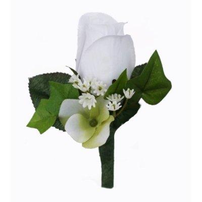 White Silk Rose Boutonniere