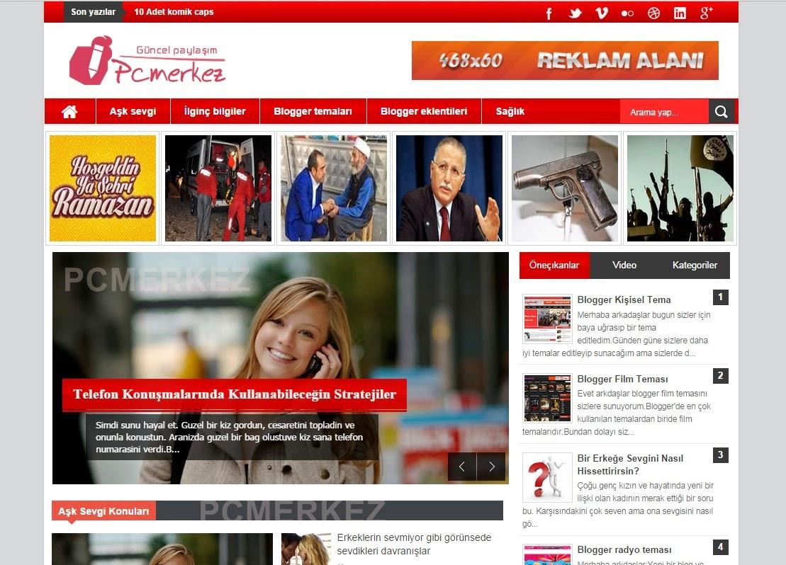 Blogger haber teması,Blogger haber temaları,blogger temaları,blogger teması,pcmerkez,blogger kişisel temaları