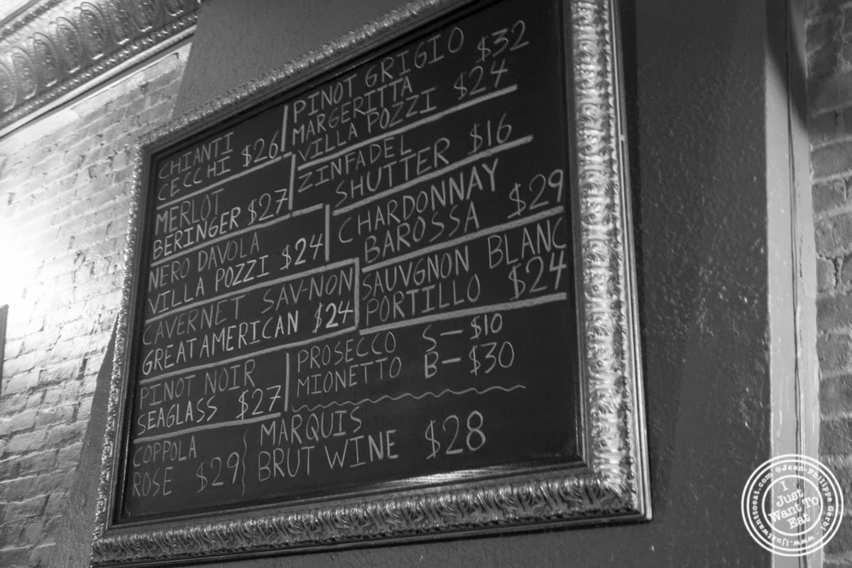image of wine list at Lazzara's Pizza and Café in the Garment District, NYC, New York