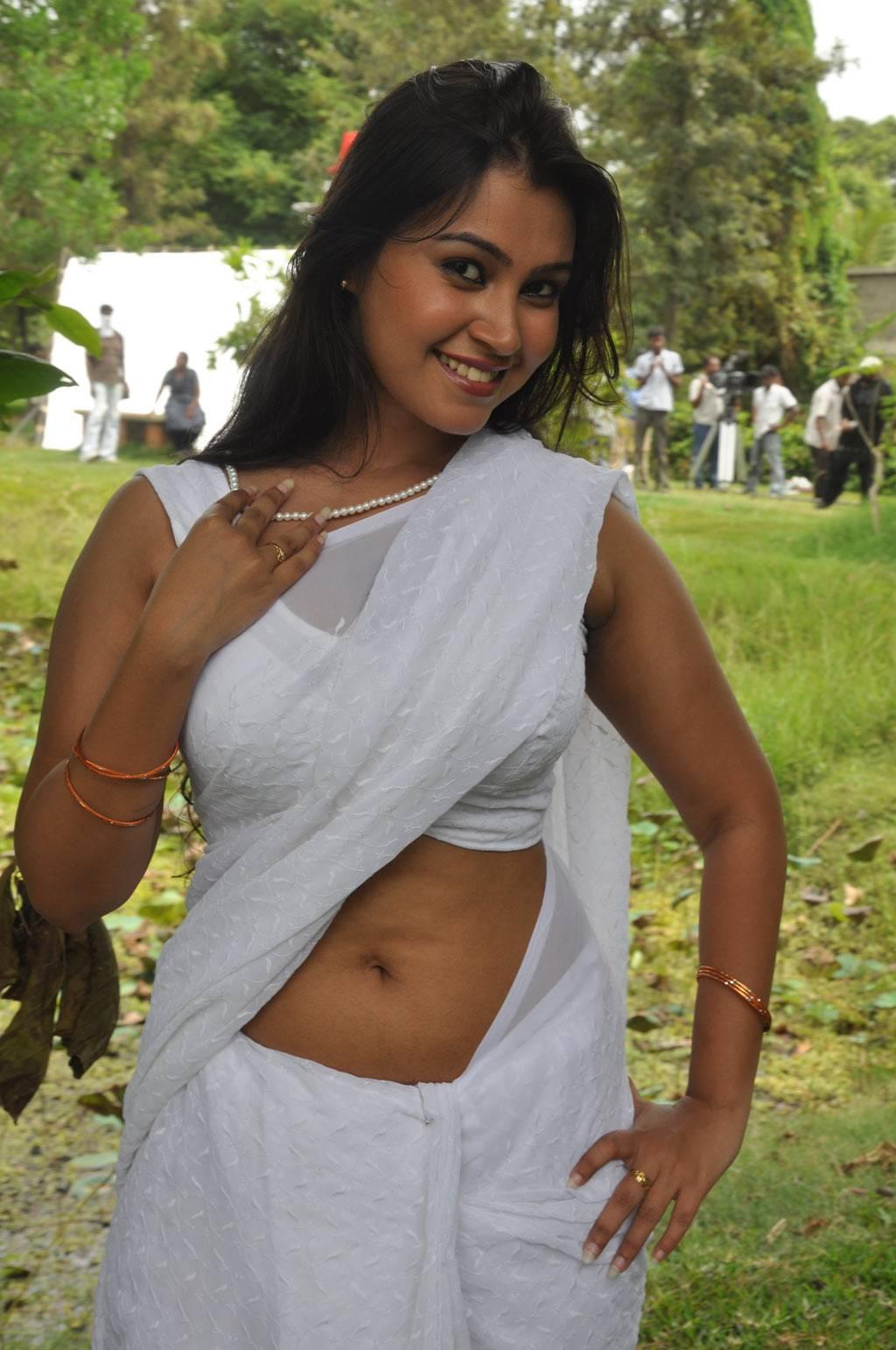 Hot Tamil Actress In White Sleeveless Saree Blouse Photos Sathyasai