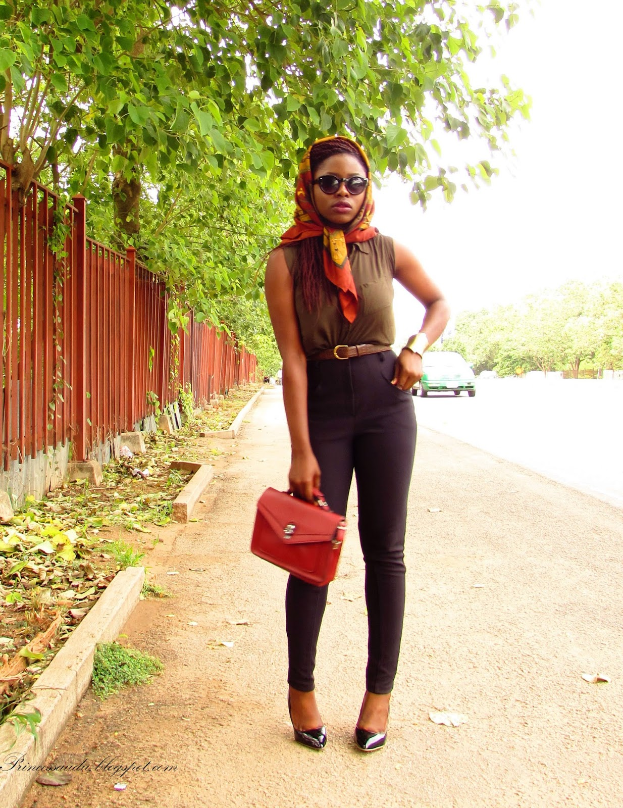 black pumps, vintage scarf, high-waist pants, jeggings