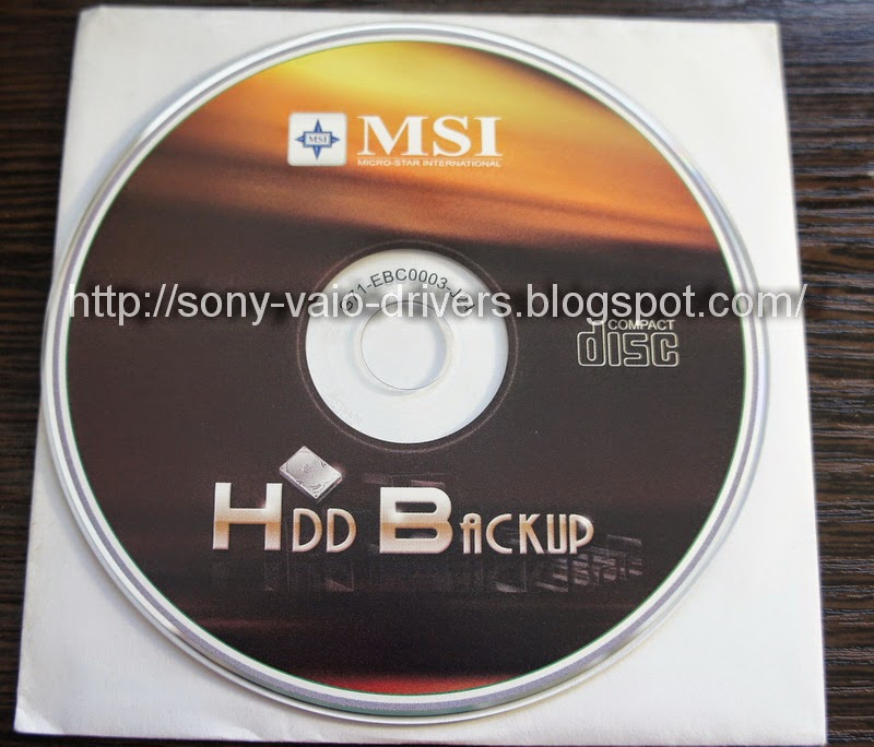 MSI HDD BACKUP - Download the Original Driver & Utility CD/DVD