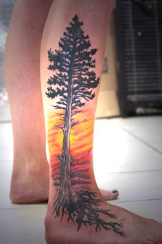 Full tree tattoo on leg