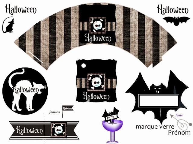 Halloween Free Printable Wrapper Cupake, Food Toppers or Flags.
