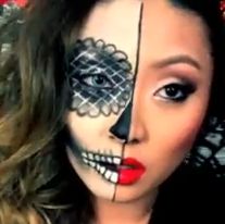 half sugar skull and half classic makeup style for girls