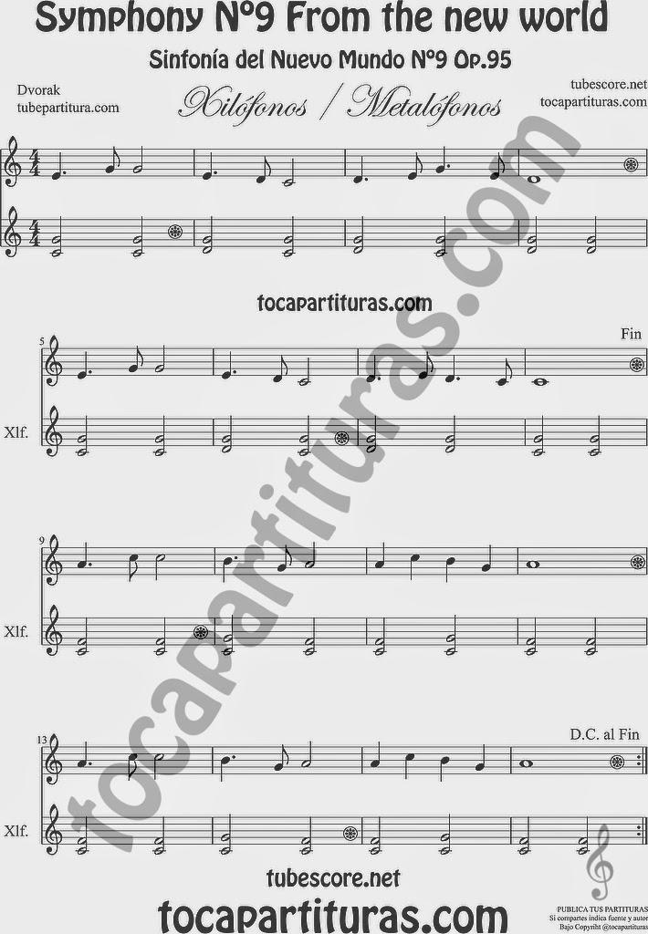Largo de la Sinfonía del Nuevo Mundo o Sinfonía nº 9 de Dvorak Partitura para Instrumentos de Placa y duo de Xilófonos (Metalófono y Xilófono) en acompañamiento New World Simphony Xilophone