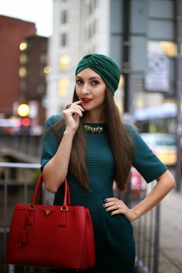 fashion blogger birmingham, russian luxury blogger, green turban hat