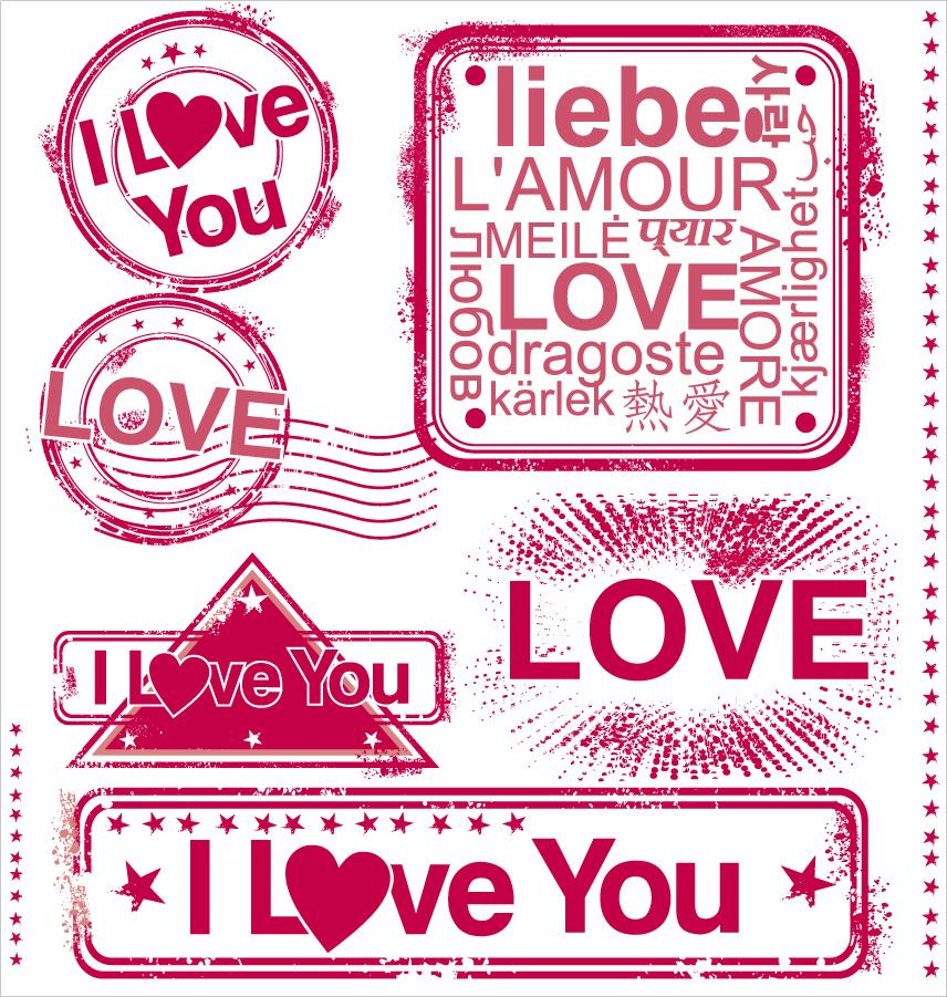 愛情表現のスタンプ デザイン romantic love stamp イラスト素材