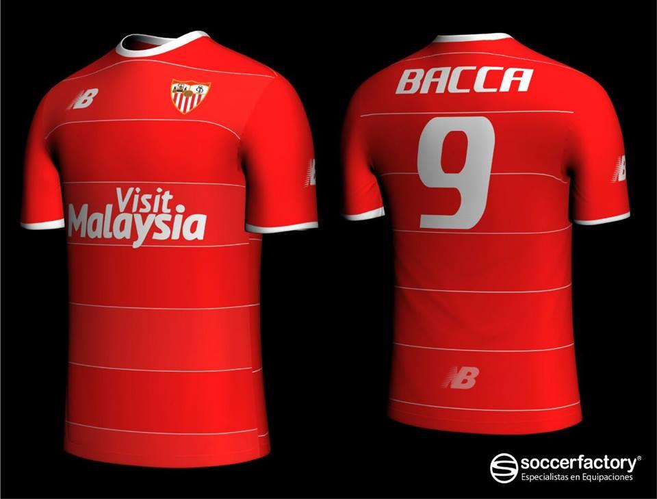 Según soccerfactory.es la segunda equipación del Sevilla FC será roja y  tendrá líneas verticales blancas. Las calzonas de la segunda equipación del  Sevilla ... f26a6b66a8a