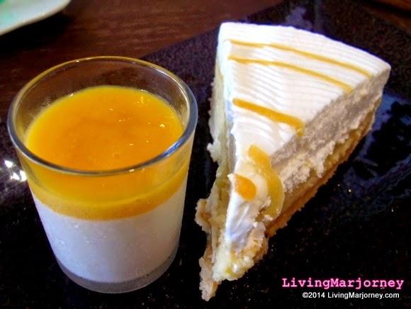 Calamansi Panna Cotta and Dulce De Leche Cheesecake