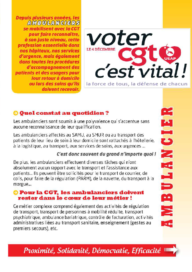 Usap cgt tract specifique ambulanciers - Grille salaire ambulancier ...