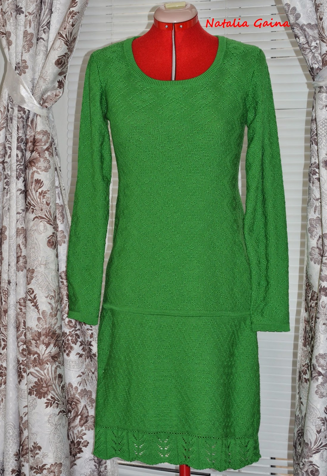 Вязание платье с заниженной талией