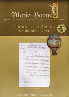 auction catalogue depicting investment certificate in Montgolfier balloon project