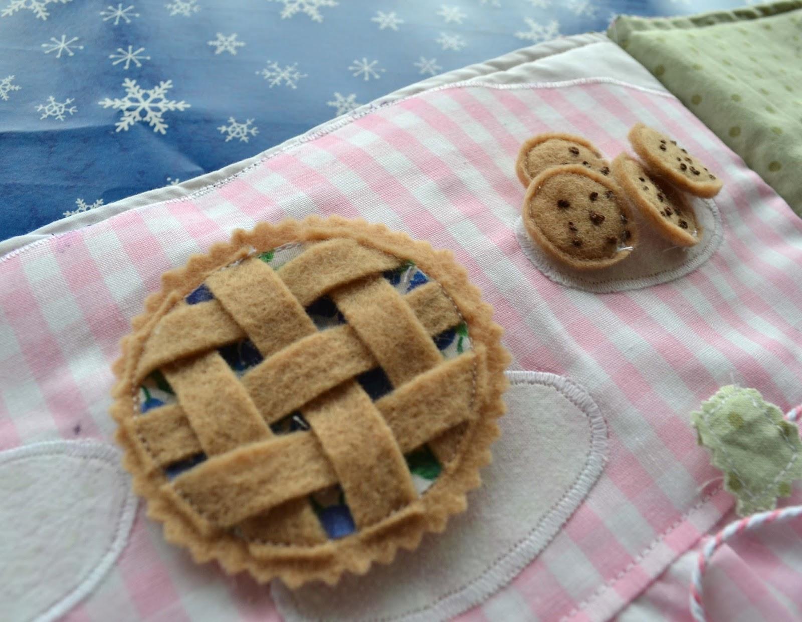 miniature felt pie and cookies
