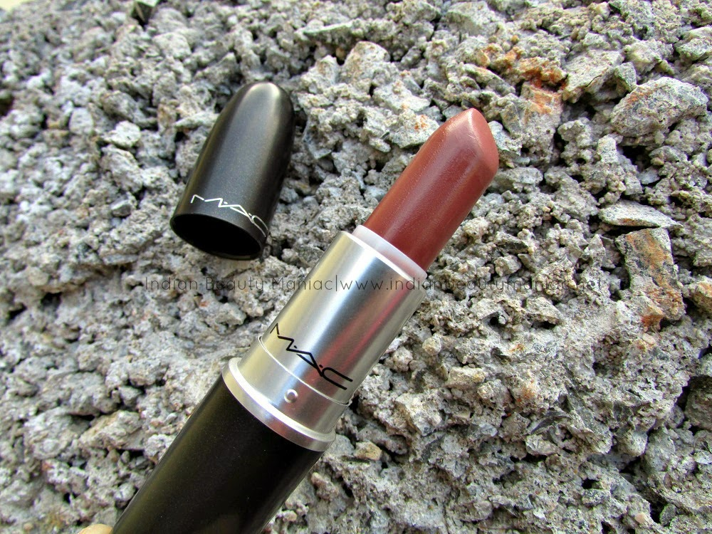 MAC Satin Lipstick Spirit Review, MAC Spirit, MAC Spirit on NC40, Nude lipsticks for Indian Skin tone, MAC lipsticks for medium skin tone, MAC lipsticks for olive skin, MAC in India, Indian Beauty Blogger, Indian Makeup Blogger