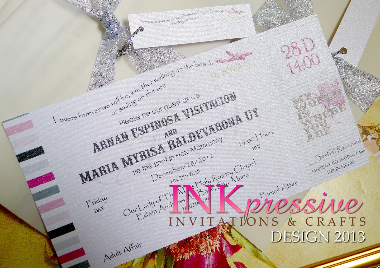 Boarding Pass Wedding Invitation | INKPRESSIVE INVITATIONS