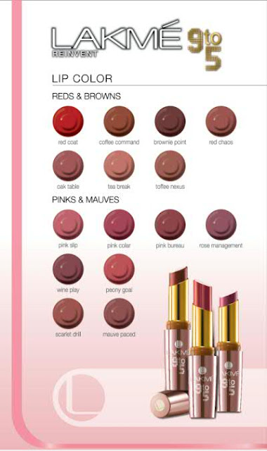 Lakme 9 to 5 Office Stylist Range Lipsticks - All Shades Chart