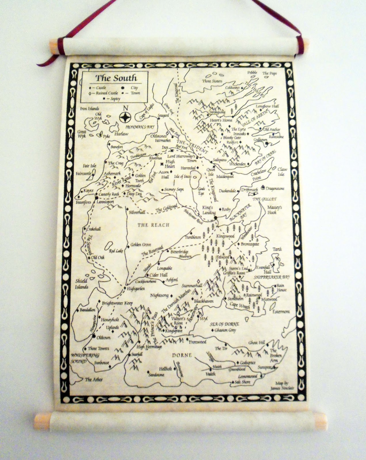 picture relating to Printable Map of Westeros identify Land of Scrolls: Video game of Thrones Westeros Map The South