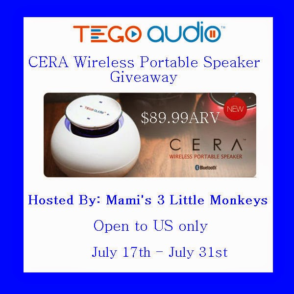 Enter the Tego Audio CERA Wireless Portable Speaker Giveaway. Ends 7/31