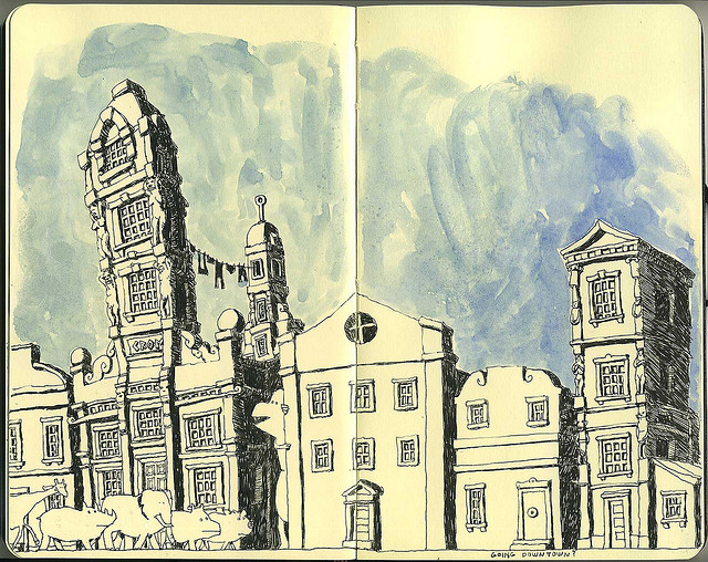 15-Going-Down-Town-Mattias-Adolfsson-Surreal-Architectural-Moleskine-Drawings-www-designstack-co