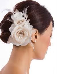 coque discreto, flores, cabelo, noiva