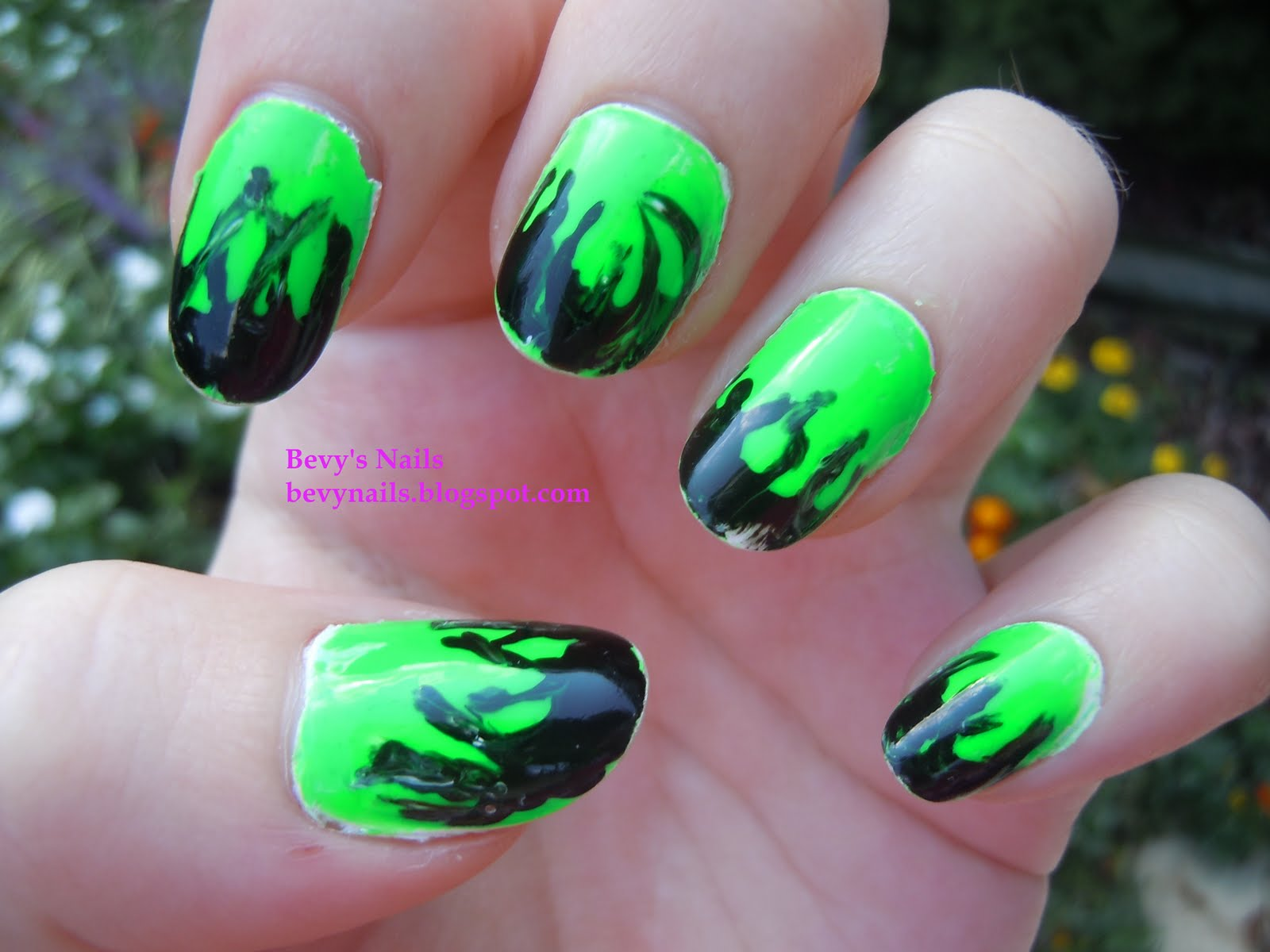 Bevy\'s Nails: Black and Green Flames