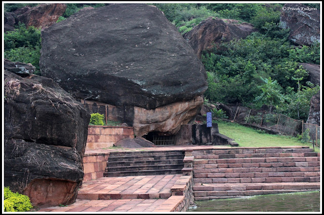 Small Temple below huge rock, Badami