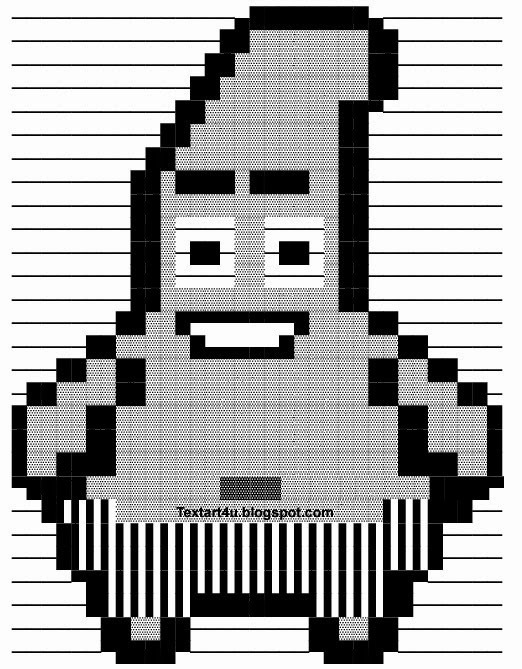Patrick Star Ascii Text Art For Facebook Cool Ascii Text Art 4 U
