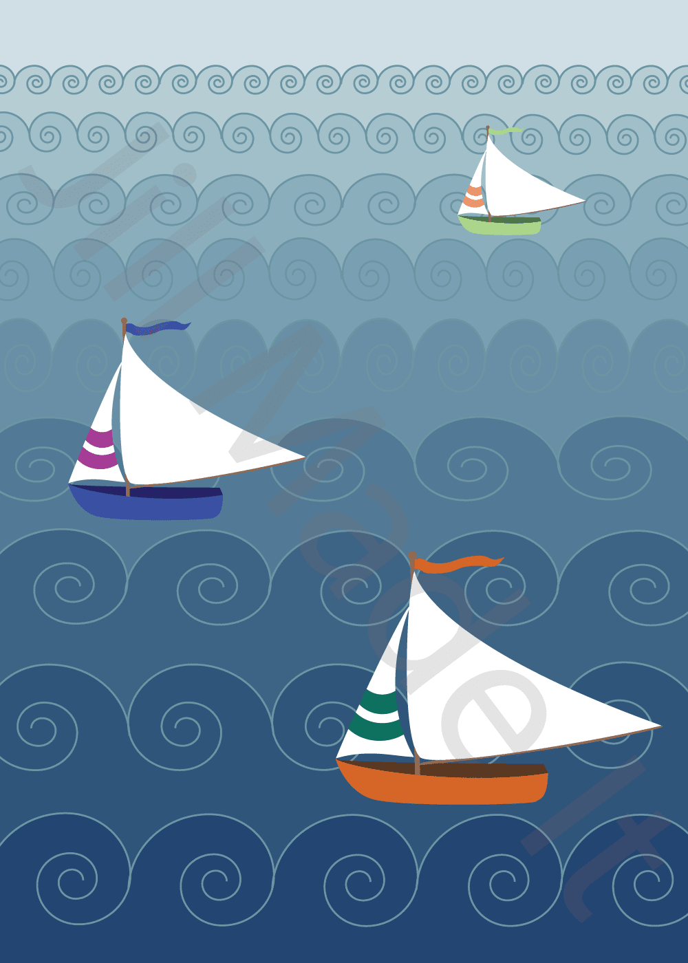Sailboats on a Wavy Sea (with Illustrator)