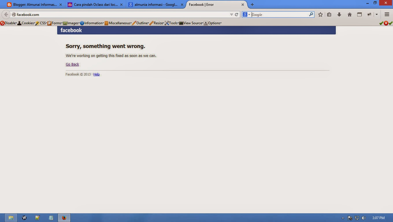 Facebook Error, tau kenapa ?