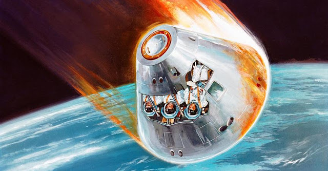 As spacecraft, like the Apollo Command Module depicted in this artist's concept, enter the atmosphere, a plasma sheath engulfs them that can cut off communication signals with the ground. Credit: NASA