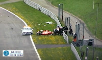 Accidente F. Alonso y Raikkonen
