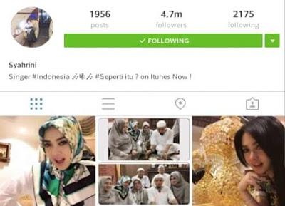 Akun Instagram Syahrini