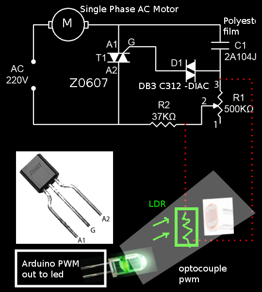 Learn on the fly arduino controlling high voltage Speed control for ac motor