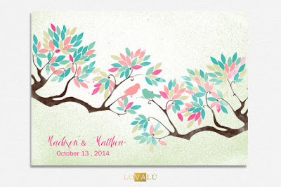 Wedding Guest book tree on canvas 200 sign with birds in love water pastel nuanced colour leaves on background shabby Choose your colours