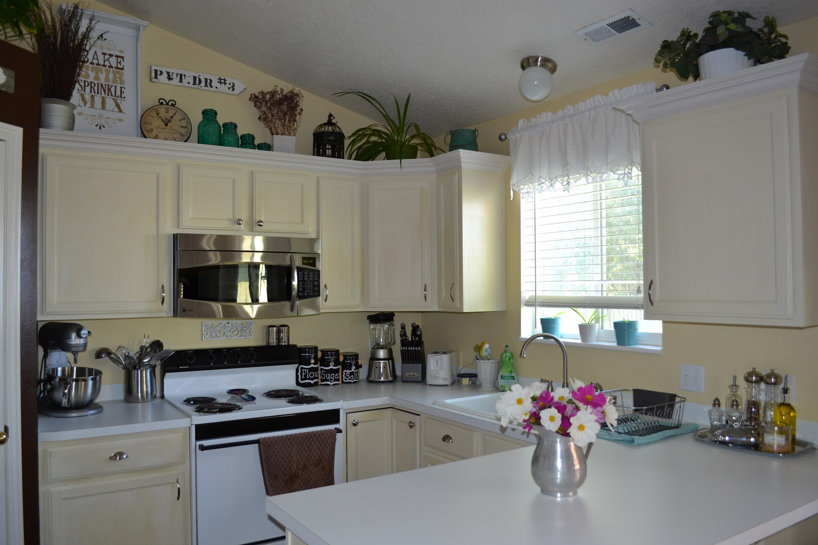 Paint Me Shabby: Filling the Awkward Space Above Kitchen Cabinets