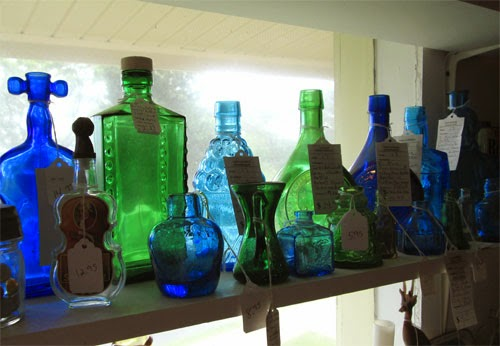 vintage blue and green bottles
