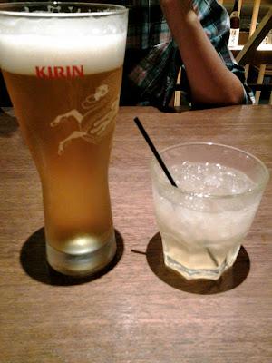 Kirin Beer and Yuzu Alcohol at Tajimaya Yakiniku Singapore