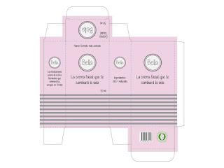 Plantilla realizada con Illustrator para un packaging de crema