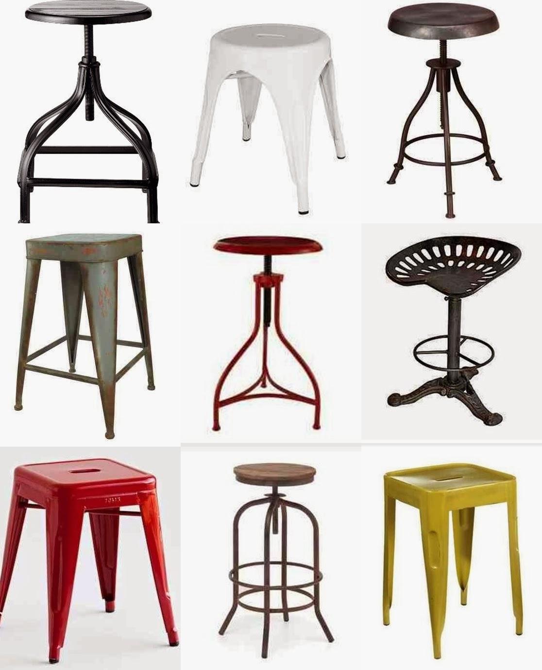 Metal Stools metalowe taborety, żółty metalowy taboret, czerwony metalowy taboret, krzesło traktorzysty taboret industriialny