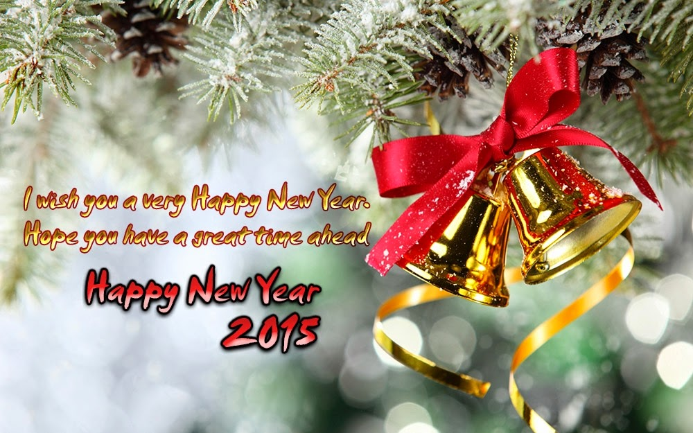 Christmas Bell Ribbon New Year 2015 Greeting Wishes eCard