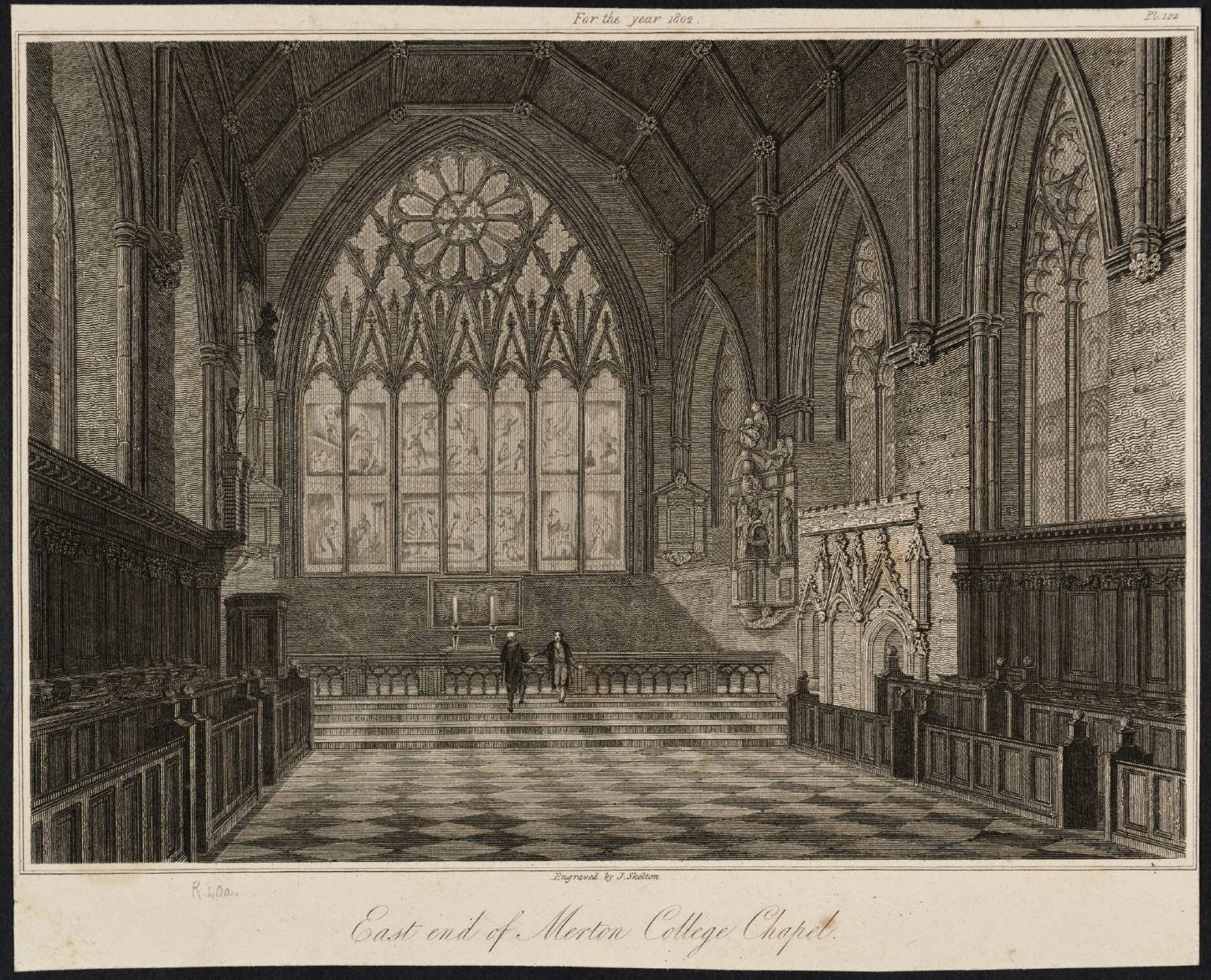Merton College Chapel, engraving of Turner drawing
