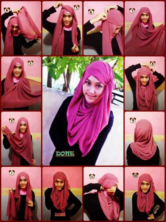 cara memakai jilbab chiffon