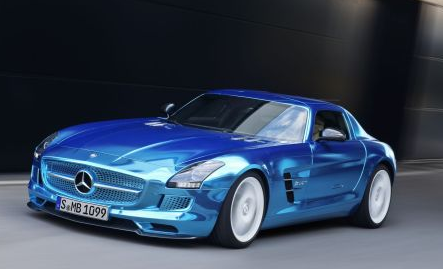 photos of blue chrome mercedes benz electric drive sls amg car exterior
