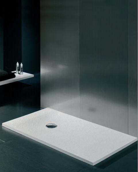 Ba o con ducha platos de ducha compact textura pizarra - Plato de ducha negro ...