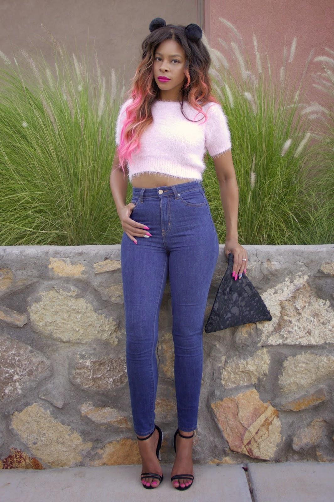 nasty gal denim kink jeans #pinkhair allthingsslim