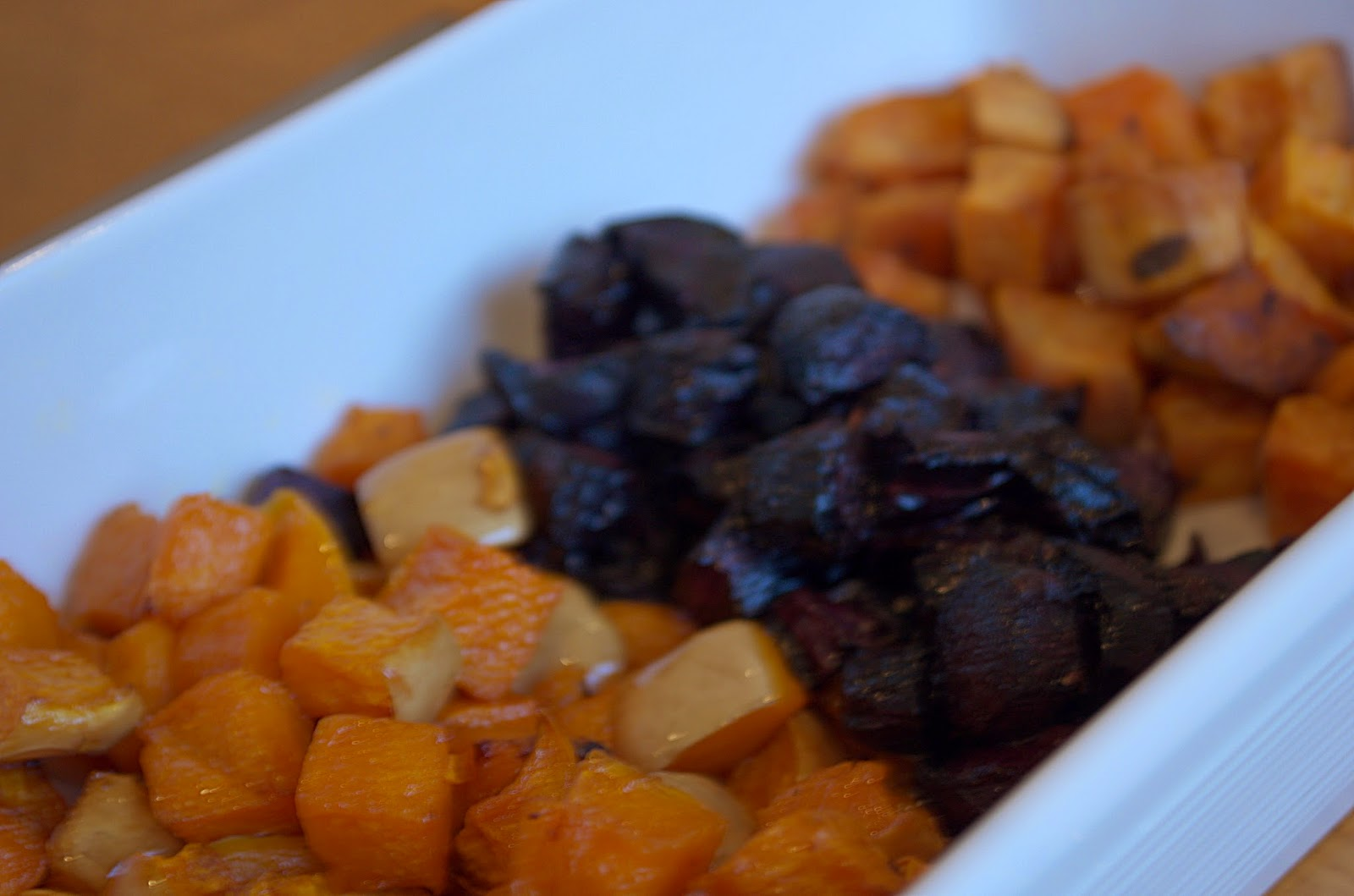 Roast pumpkin, purple carrot and sweet potato