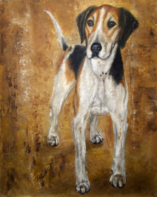 Study of a foxhound, oil painting of a foxhound
