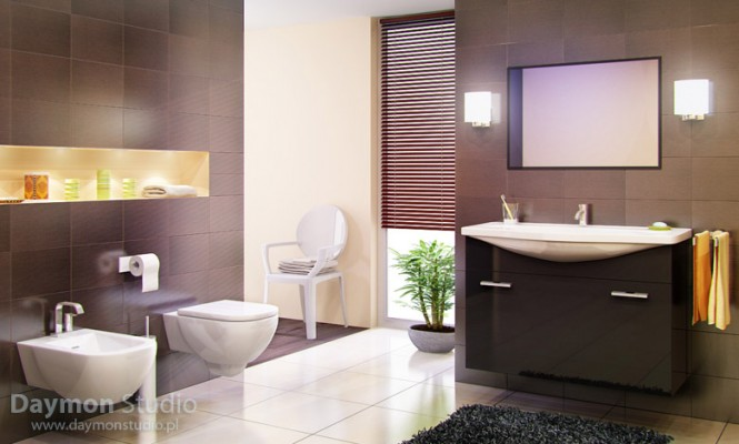 Diseño de Baños Modernos Beige y Chocolate  Ideas para ...